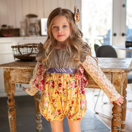 Mustard Pie  Butterscotch 2pc Imogen Romper & Hair Clip (*Top Sold Separately*)