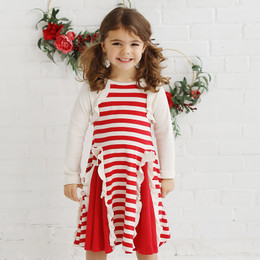 Lemon Loves Lime Holiday Peppermint Cascade Dress - True Red / Eggnog