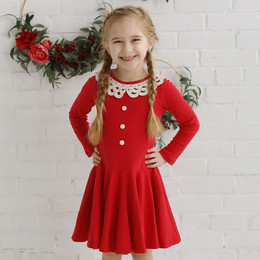 Lemon Loves Lime Holiday Little Prairie Dress - True Red