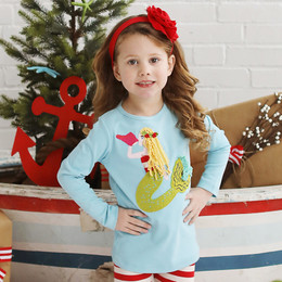 Lemon Loves Lime Holiday Mermaid's Music Tee - Porcelain Blue