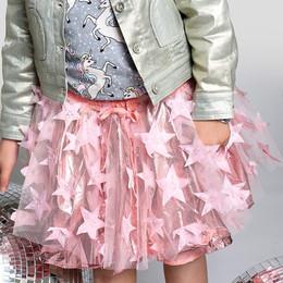 Paper Wings Tulle Skirt - Metallic Pink Stars