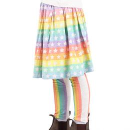 Paper Wings Gathered Skirt - Multi Stars & Stripes