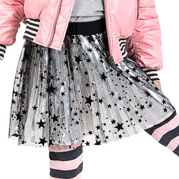 Paper Wings   Pleated Skirt - Silver / Black Stars