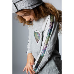 Paper Wings   Raglan Tee - Rainbow Sequin Heart