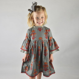 Yo Baby Bell Sleeve Dress - Grey Floral / Stripe