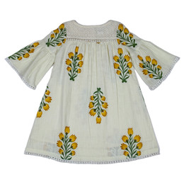 Yo Baby Bell Sleeve Dress With Lace - Ivory / Yellow Floral