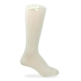 Jefferies Socks  Pointelle Bow Knee High Socks - Ivory