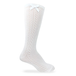 Jefferies Socks  Pointelle Bow Knee High Socks - White