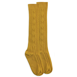 Jefferies Socks Classic Cable Knee High Socks - Mustard