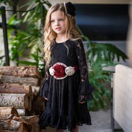 Mustard Pie    Snowfall  3pc Lizette Dress, Sash, & Hair Clip - Black