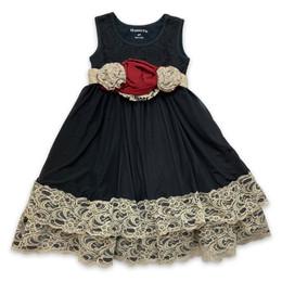 Mustard Pie Snowfall  2pc Mabel Dress & Hair Clip - Black