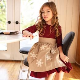 Mustard Pie    Snowfall  3pc Nora Apron Dress & Hair Clip - Holly