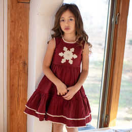Mustard Pie Snowfall  2pc Ryan Dress & Hair Clip - Holly