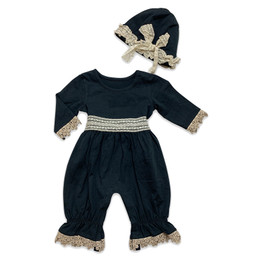 Mustard Pie Snowfall  2pc Maya Romper & Hat Set - Black