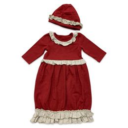 Mustard Pie Snowfall  2pc Isabel Gown & Hat Set - Holly