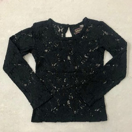 Mustard Pie Snowfall  Lottie Sheer Lace Top - Black