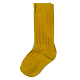 Evie's Closet Quilted Knee High Socks - Mustard