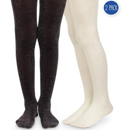 Jefferies Socks Sparkly & Diamond Tights - Black & Ivory - 2 pack!