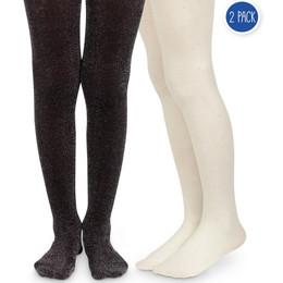 Jefferies Socks Sparkly & Diamond Tights - Black & Ivory - 2 pack!