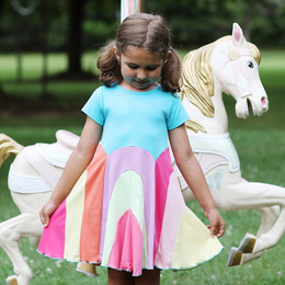 Lemon Loves Lime  Magical Rainbow Dress - Scuba Blue