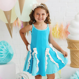 Lemon Loves Lime  Easy Twirl Dress - Scuba Blue / Blue Curacao