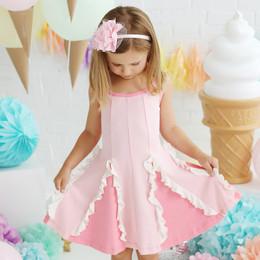 Lemon Loves Lime  Easy Twirl Dress - Rose Shadow / Straw Pink