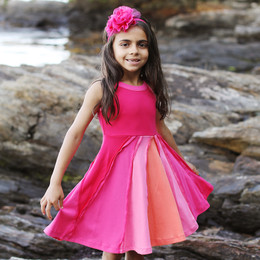 Lemon Loves Lime  Ocean and Sky Dress - Virtual Pink