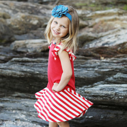Lemon Loves Lime  Fluttering Stripe Dress - True Red / Eggnog