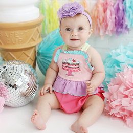 Lemon Loves Lime  Tea Party Bubble Romper - Pink Lemonade