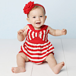 Lemon Loves Lime  Bow Love Bubble Romper - True Red / Eggnog