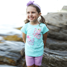 Lemon Loves Lime  Twirly Octopus Tee - Aruba Blue