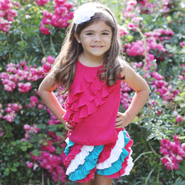 Lemon Loves Lime 3 Tiered Ruffle Tank - Virtual Pink