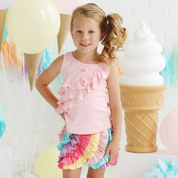 Lemon Loves Lime 3 Tiered Ruffle Tank - Rose Shadow