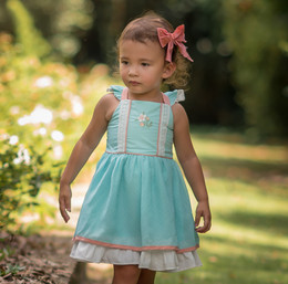 Evie's Closet  Aqua Swiss Dot Dress