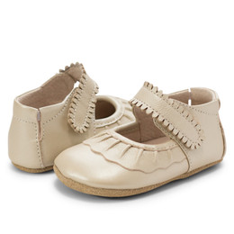 Livie & Luca Ruche Baby Shoes - Champagne (*New Sizes!*)