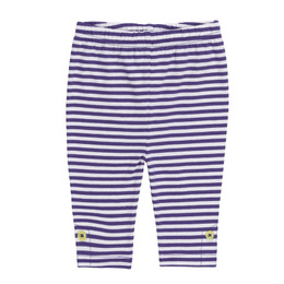 Deux Par Deux  Going Bananas Striped Capri Legging - White / Purple