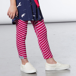 Deux Par Deux  Like A Seagull Striped Capri Legging - Red / White