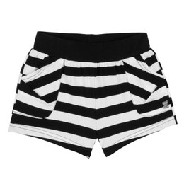 Deux Par Deux  Flower My World Striped Knit Short - Black / White