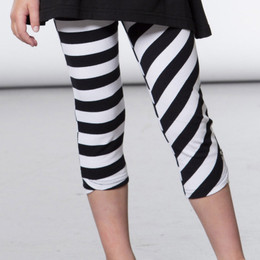Deux Par Deux  Flower My World Asymmetric Striped Capri Legging - Black / White