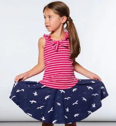 Deux Par Deux  Like A Seagull Print Flare Skirt - Navy