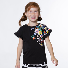 Deux Par Deux  Flower My World Knit Top - Black