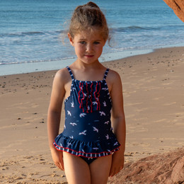 Deux Par Deux  Like A Seagull 1pc Skirted Swimsuit - Navy