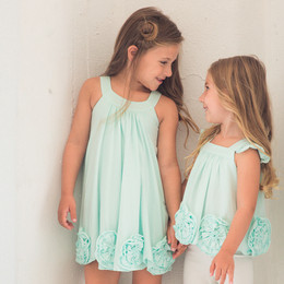 Isobella & Chloe Flora Dance Rosette Knit Dress - Tiffany