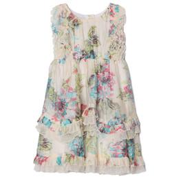 Isobella & Chloe Fleurette Floral Ruffle Dress - Cream