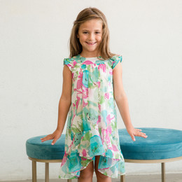 Isobella & Chloe Marnie Floral Hi-Lo Dress - Turquoise