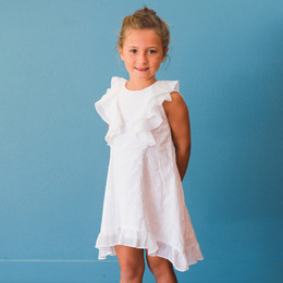 Isobella & Chloe Ava May Swiss Dot Ruffle Dress - White