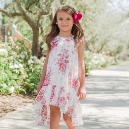 Isobella & Chloe Petaled Pink Floral Hi-Lo Dress - White
