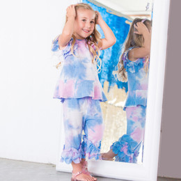 Isobella & Chloe Sunny Smile 2pc Knit Tunic & Pant Set - Rainbow Tie Dye