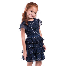 Imoga Serenity Metallic Star Tiered Dress - Navy