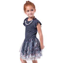 Imoga Yvette Overlay Dress w/Beaded Necklace - Navy